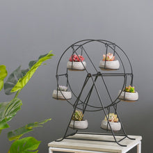 Ferris Wheel-stand with 6 Cement Succulent Plant Pots - stilyo