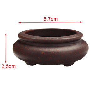 Ceramic Round Chinese Zisha Bonsai Pot 5.7x2.5cm - stilyo