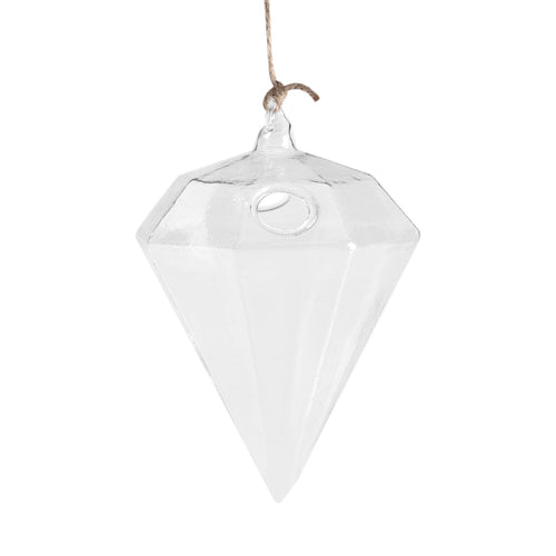Diamond Shaped Glass Hanging Plant Pot