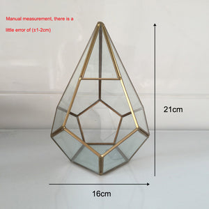 Pot for flowers Handmade Prism Glass Terrarium Air Plant pot Geometric Terrarium brass geometric small box glass vase for plant