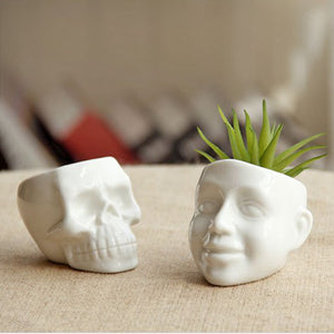Mini Skull/Face Cute Ceramic Plant Planter - stilyo