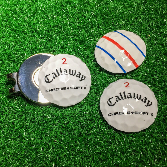 Ball Marker - Callaway Chrome Soft X Hat Clip (Triple Track)