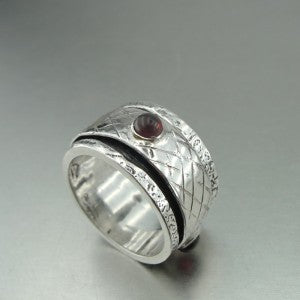 Handmade Swivel 925 Sterling Silver Garnet Ring  (H)