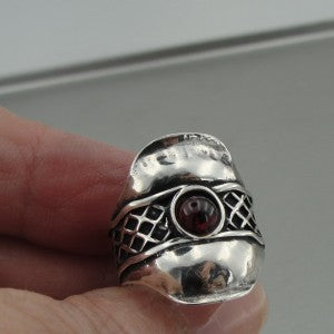 Handmade Sterling Silver Red Garnet Ring  (H 1441)