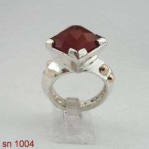 Israel handmade unique 925 Sterling Silver squer cornelian stone and Point 9k gold woman Ring size 8 (sn 1004)
