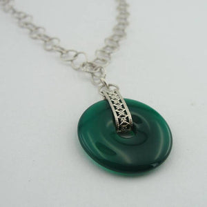 Handcrafted 925 Sterling Silver Green Agate Pendent, Green Agate Necklace, Green stone Pendant, Round Donat Pendant, Free Shipping (H 400