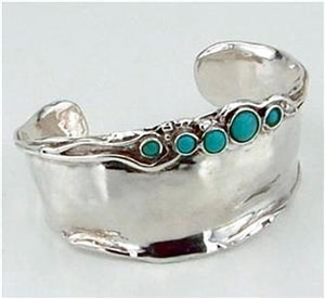 Hadar Designers Handmade 925 Sterling Silver Turquoise Cuff Bracelet