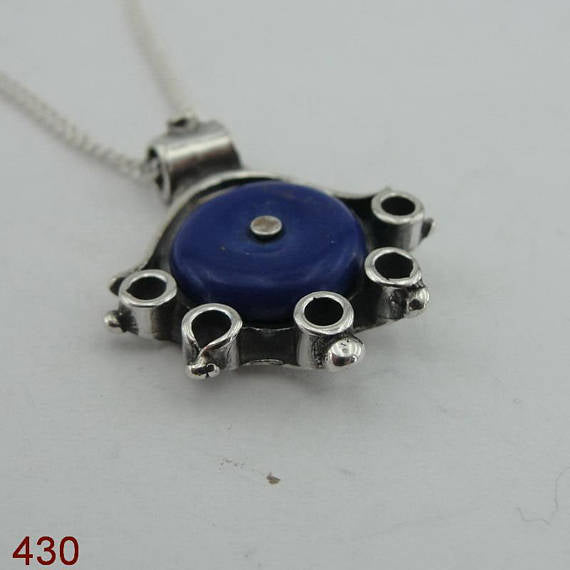 Handcrafted Sterling Silver blue agat Pendant ,chain ,CHRISTMAS , ( 430)