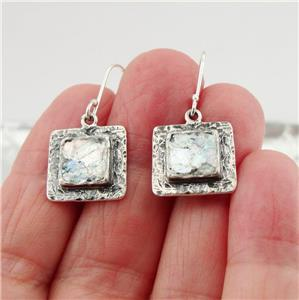 Hadar Designers Handmade Square 925 Silver Antique Roman Glass Earrings (as) Y