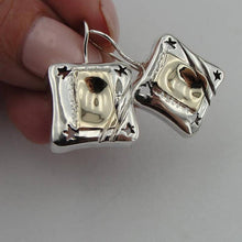 Israel design yellow Gold 9k , 925 sterling Silver Earrings , gift, christmas , Birthday (216g
