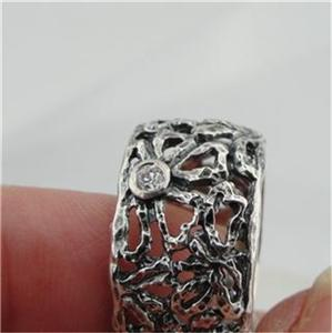 Handmade Filigree 925 Sterling Silver Zircon Ring  (Y)