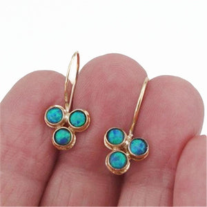 Solid Yellow Gold Dangle earrings decorated with 3 blue Mosaic Opal, flower aesthetic ring.