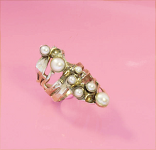 Hadar Jewelry Flower bloom ring, Sterling Silver 925 with pearls