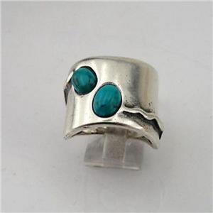 Wide Sterling Silver Turquoise Ring