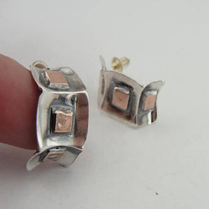 New israel design 9k yellow Gold 925 sterling Silver Stud Earrings (2905)