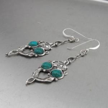 Hadar Jewelry Handmade Long Dangle 925 Sterling Silver Turquoise Earrings (H