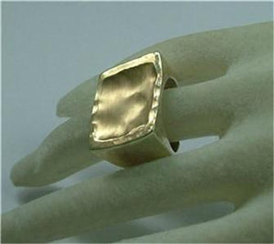Hadar Jewelry Handmade 9k Yellow Gold Sterling Silver Ring