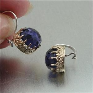 Hadar Designers 9k Yellow Gold 925 Silver filigree Amethyst Earrings
