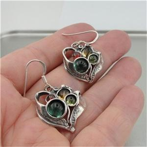 Hadar Designers Israel Handmade Sterling Silver Tourmaline Citrine Earrings (H)
