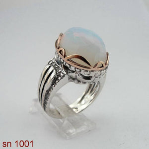 Israel Sterling Silver and gold 9K 925 Women Ring with Opalite Stones , Valentine gift (sn 1001)