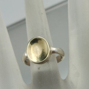 Hadar Designers Handmade Simple 9k Yellow Gold 925 Silver Ring  (H)