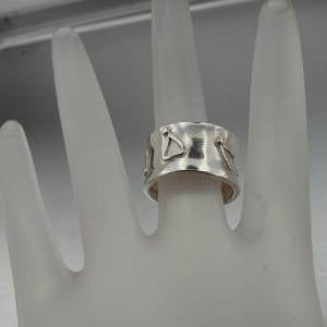 Hadar Designers Handmade Concaved Sterling Silver Band Ring  (H)