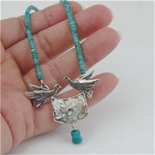 Hadar Designer Handmade Sterling Silver Roman Glass Turquoise Bird Necklace