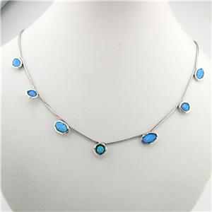 Hadar Designers Handmade Unique 925 Sterling Silver Blue Opal Necklace (as 5549)