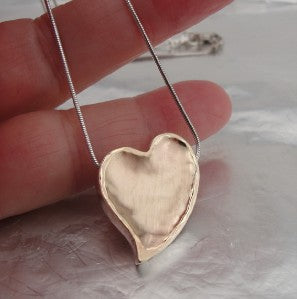 Hadar Jewelry Handmade 9k yellow Gold 925 Silver Large Heart Pendant