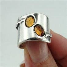 Wide  Sterling Silver Amber Ring