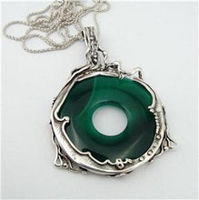 Hadar Designers Handmade Large Sterling Silver Green Agate Pendent (H 494D)