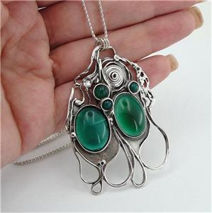 Hadar Designers Handmade Unique Art Huge Sterling Silver Green Agate Pendant (H