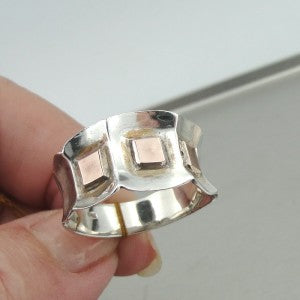 Handmade Sterling Silver Rose Gold Ring  (H