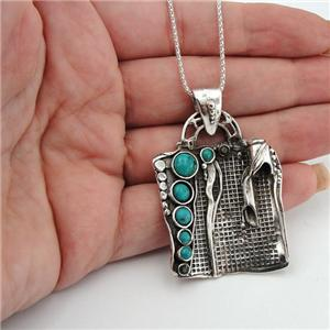 Hadar Jewelry Handcrafted 925 Sterling Silver Turquoise Pendent (H 425DO)