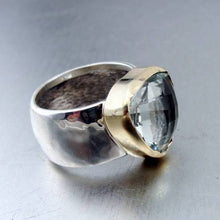 Hadar Designers 9k Yellow Gold 925 Silver Green Amethyst Ring