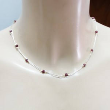 Hadar Jewelry Delicate 14K Gold F Sterling Silver Red Garnet Necklace (L)