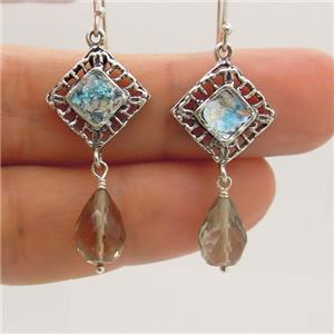Hadar Designers Drop Dangle Sterling Silver Roman Glass Smokey Earrings (as