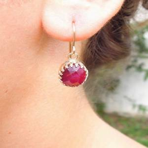 Hadar Jewelry Handmade 14k yellow Gold Filled Filigree Ruby Earrings