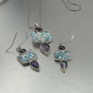 Hadar Designers Handmade 925 Silver Roman Glass Earrings Pendant Set (AS)