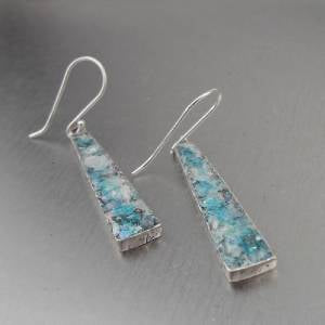 Hadar Jewelry Drop Handmade Sterling Silver Roman Glass Earrings