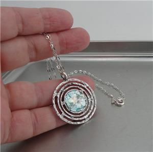 Hadar Designers Handmade Round Sterling Silver Roman Glass Pendant (as 150666)y
