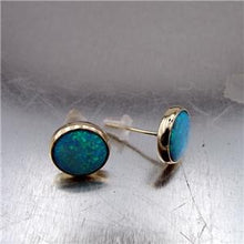 Hadar Jewelry Classy 9k Yellow Gold 10mm Blue Opal Stud Earrings