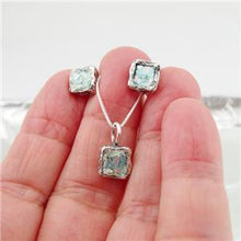 Square Sterling Silver Antique Roman Glass Pendant (ASy)