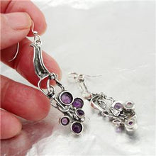 Hadar Designers Handmade long Dangle 925 Sterling Silver Amethyst Earrings (H)