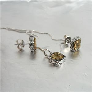 Handmade 24k Gold & Silver Raw Diamond Pendant Earrings and necklaces Set