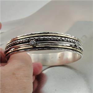 Hadar Designers Handmade 9k Yellow Gold 925 Silver Zircon Bangle Bracelet (SN)2