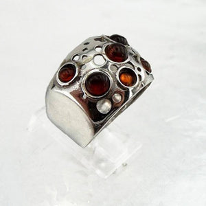 Wide sterling silver with 5 natural Ambers gemstones ring