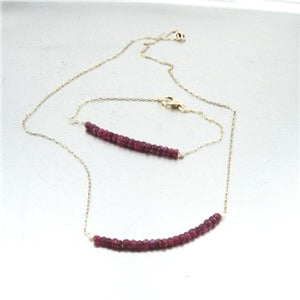 Genuine natural red ruby gemstone-beads, and polished 14k gold filled chain
