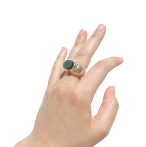 Oval natural Emerald ring, sterling silver ring with natural Emerald gemstone decorated with Gold, READY TO SHIP Size 8us