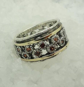 Gold, Silver 925 and Zircon Swivel Ring